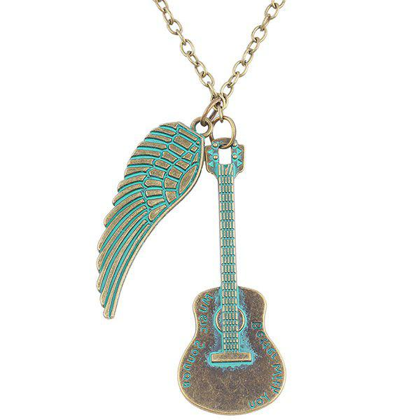 Chic Love Guitar Angel Wing Necklace For Women