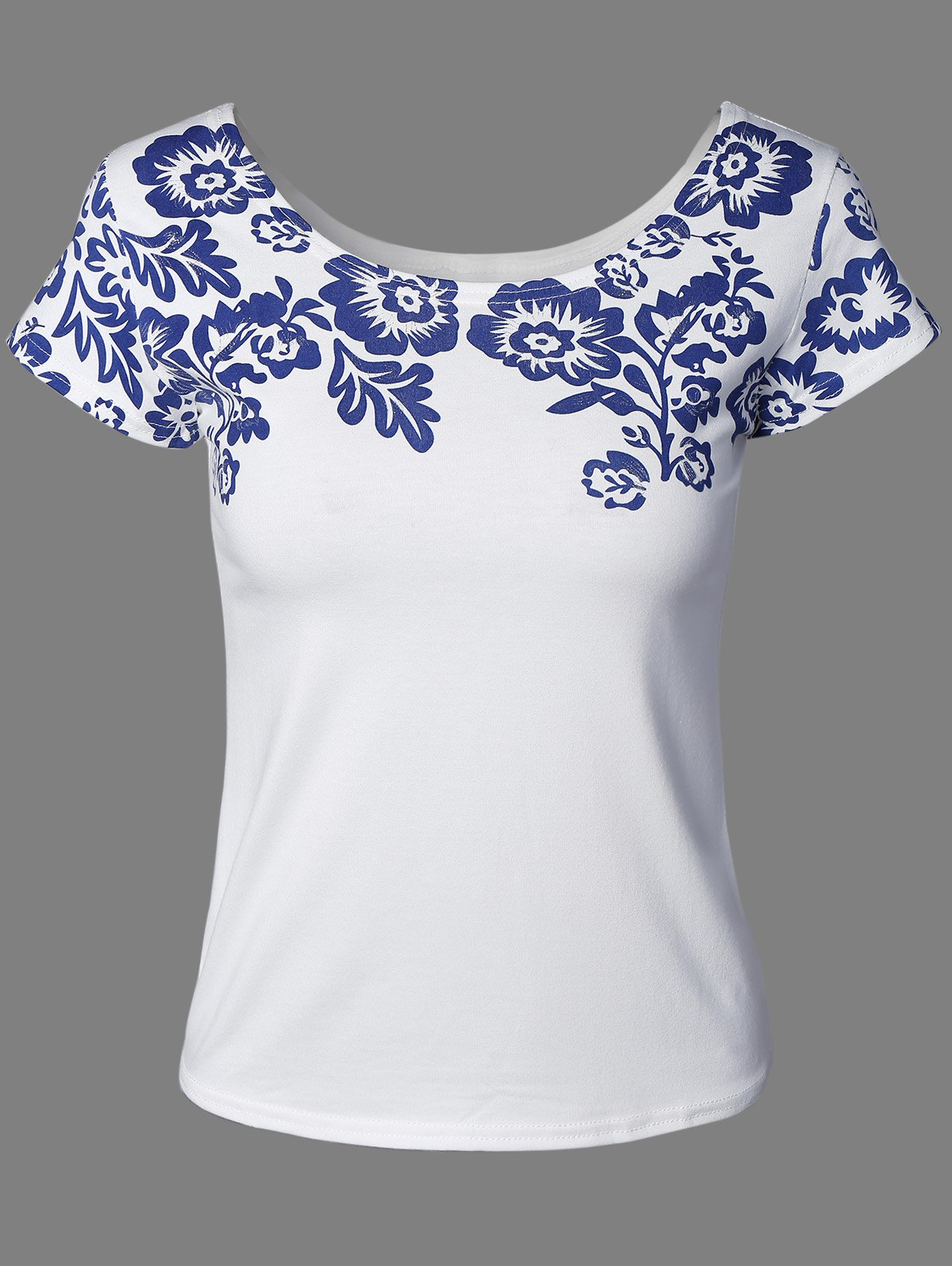 Quiet Color Floral Pattern Tee - WHITE ONE SIZE