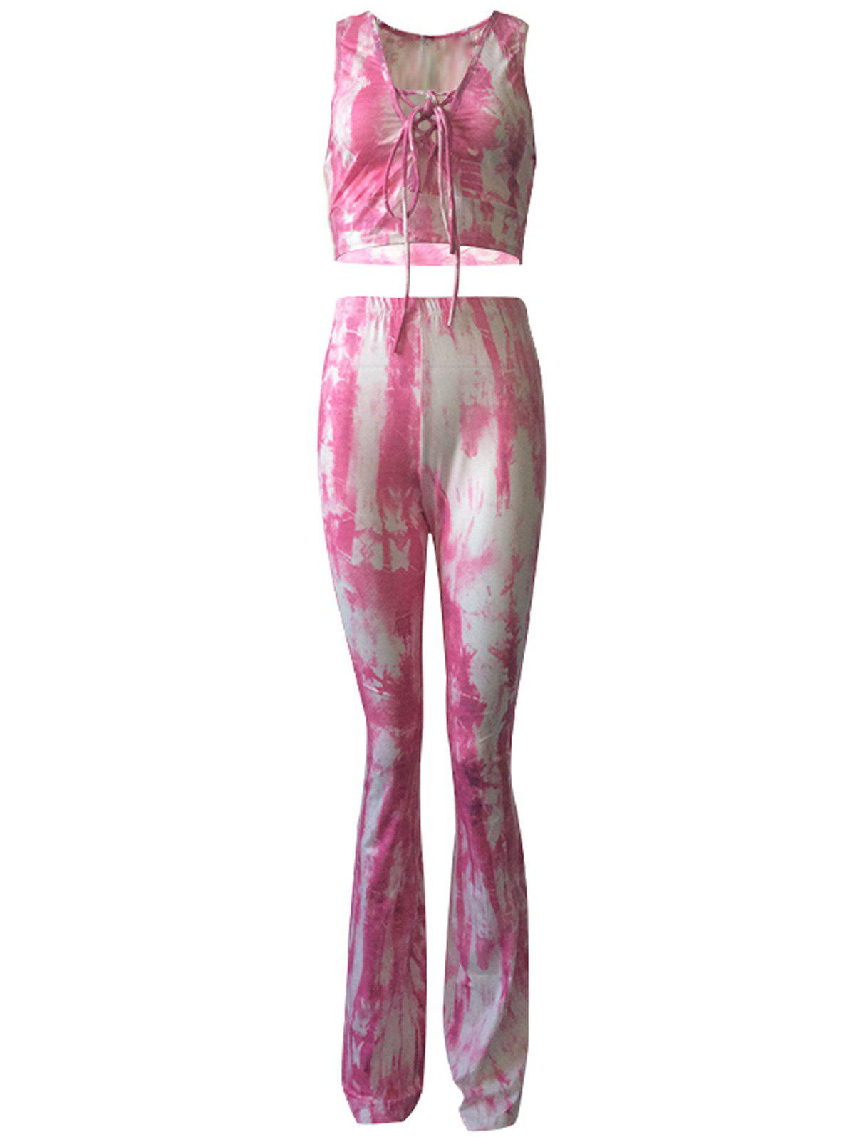 Casual Lace Up Tank Top and Tie Dye Pants Set For Women - SHALLOW PINK 3XL