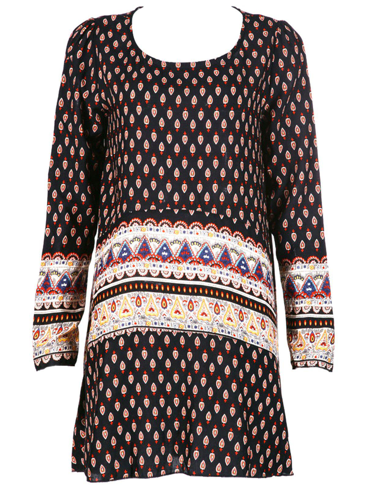 Vintage Women's Tribal Print Long Sleeves Dress - COLORMIX XL