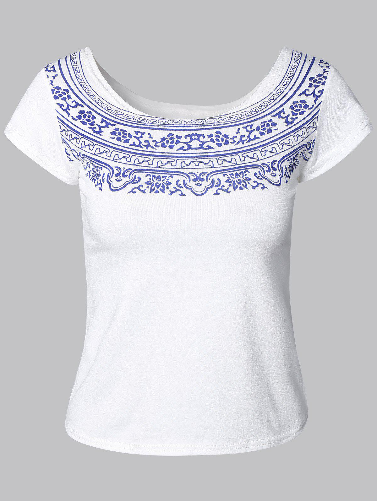 Plain and Neat Tribal Pattern Tee - WHITE ONE SIZE