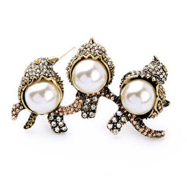 Cut Out Faux Pearl Etched Rhinestone Birds Brooch - GOLDEN