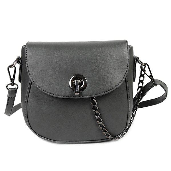 Trendy PU Leather and Chain Design Women's Crossbody Bag - GRAY