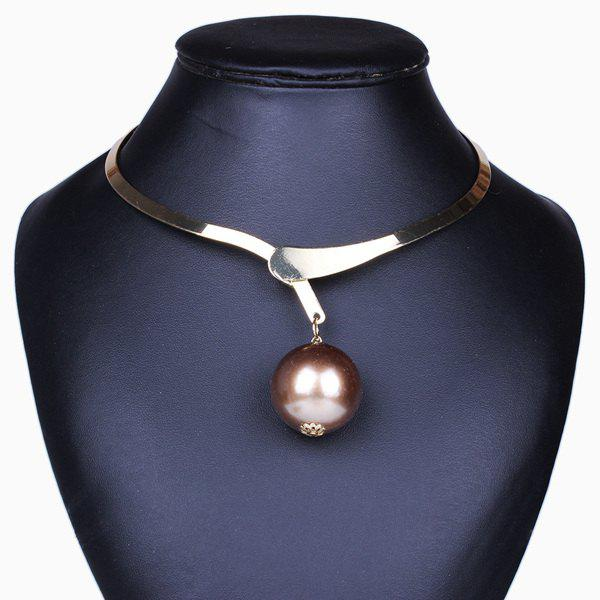 Bead Pendant Statement Torques - GOLDEN