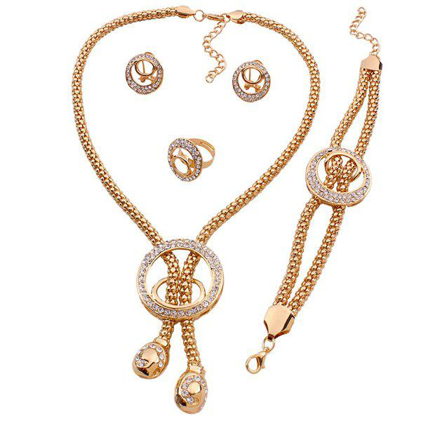A Suit of Gorgeous Rhinestone Circle Lariat Necklace Bracelet Ring and Earrings For Women - GOLDEN