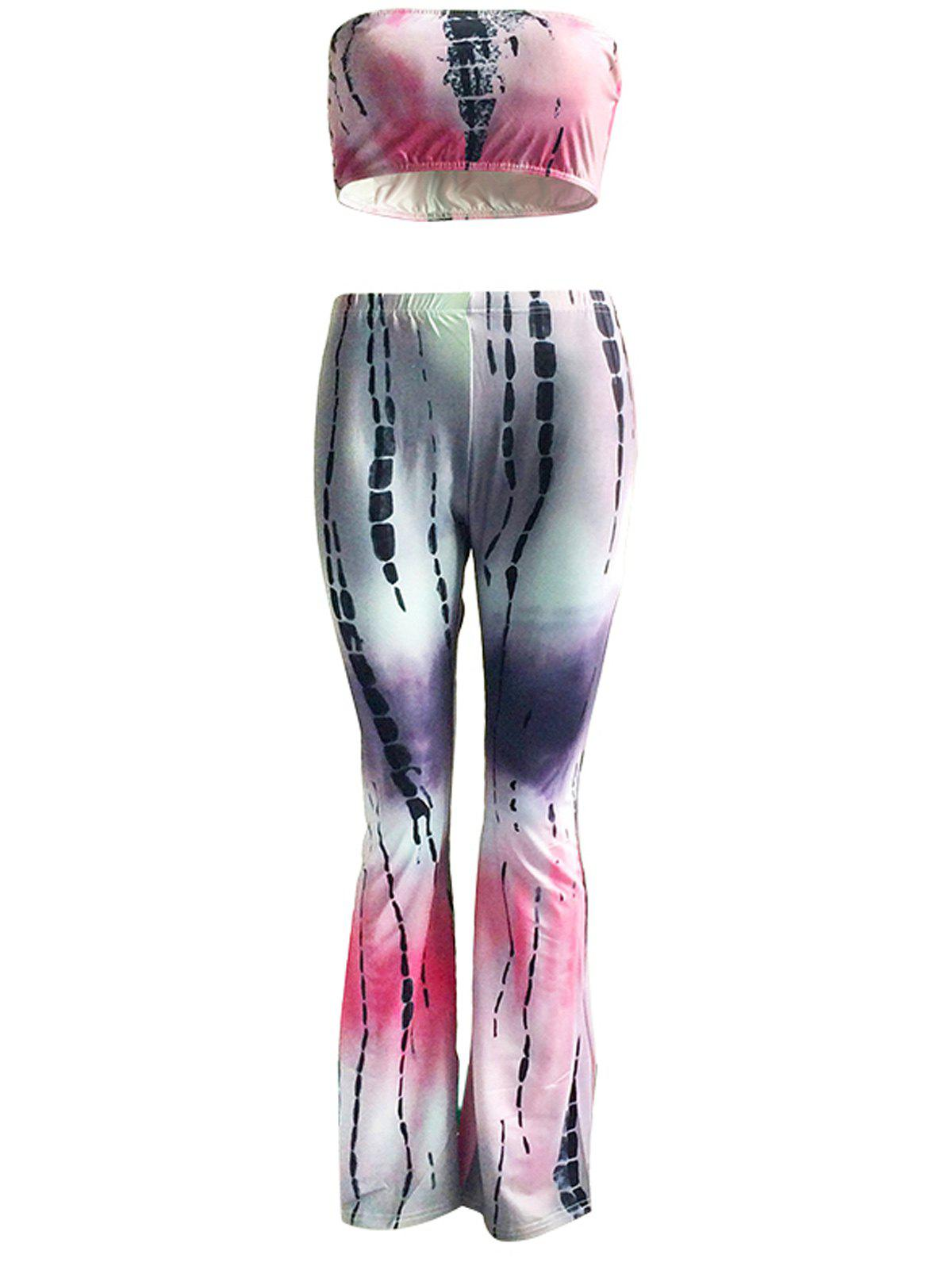 Chic Padded Tube Top and Tie Dye Pants Set For Women - COLORMIX 3XL