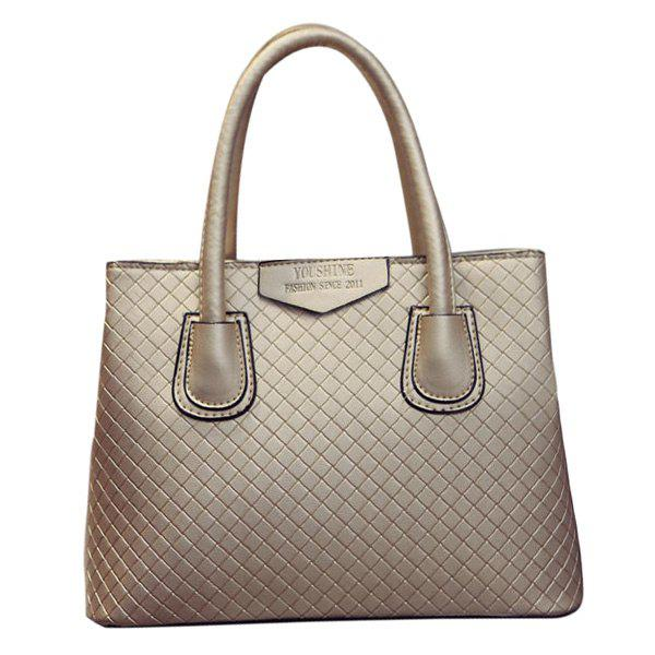 Fashionable PU Leather and Plaid Pattern Design Women's Tote Bag - GOLDEN