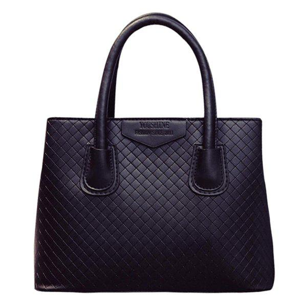 Fashionable PU Leather and Plaid Pattern Design Women's Tote Bag