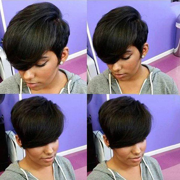 Human Hair Faddish Short Straight Side Bang Capless Wig For Women - JET BLACK