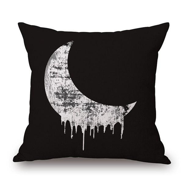 Exquisite Black and White Moon Night Design Sofa Pillow Case - WHITE/BLACK