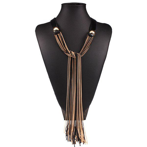 Long Fringe Spliced Necklace - GOLDEN