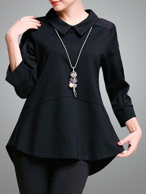 Trendy Lace Spliced Asymmetrical Women's Blouse - BLACK 4XL
