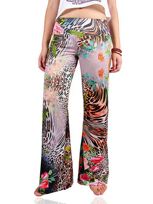 Tropical Leopard Print Loose Exumas Palazzo Pants - COLORMIX 2XL