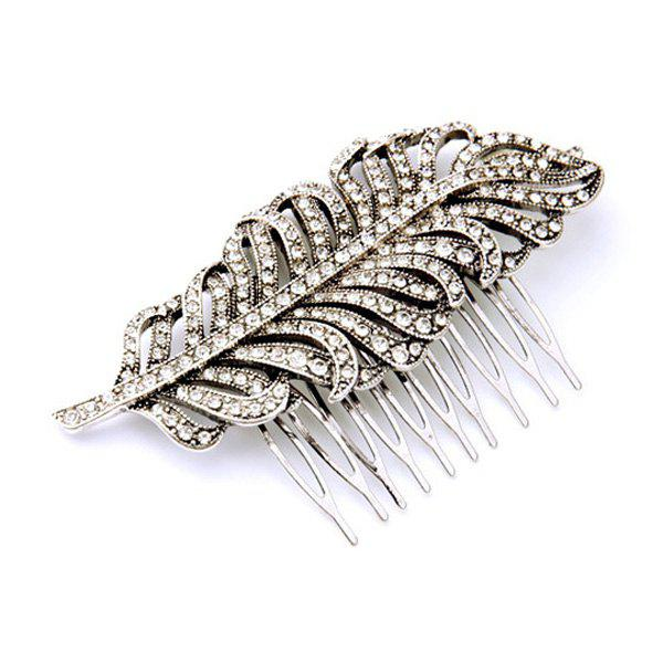 Stunning Cut Out Rhinestone Feather Silver Plated Hair Comb For Women - SILVER