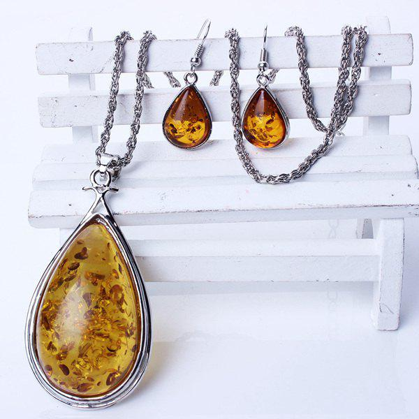A Suit of Vintage Faux Amber Necklace and Earrings For Women