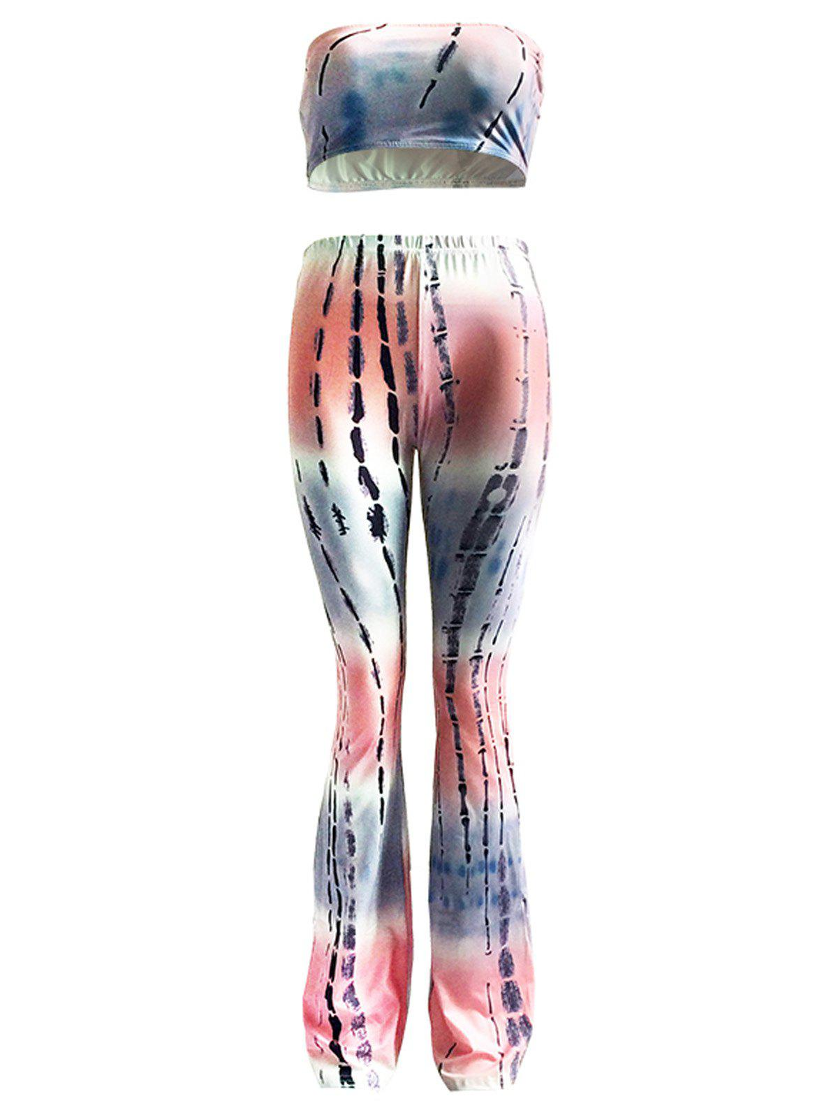 Fashionable Padded Tube Top and High Waist Pants Set For Women - COLORMIX 3XL