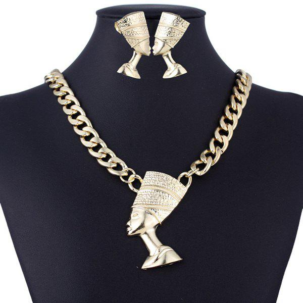 Egyptian Pharaoh Alloy Necklace and Earrings - GOLDEN
