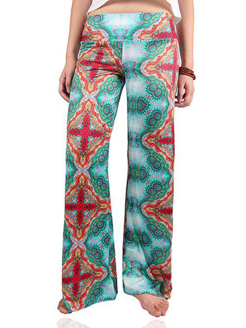 Chic Women's Elastic Waist Tribal Print Exumas Pants - COLORMIX 2XL