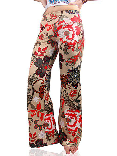Low-Waist Tropical Floral Print Exumas Palazzo Pants - COLORMIX S