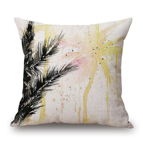 Graceful Watercolor Coconut Tree Pattern Printed Pillow Case