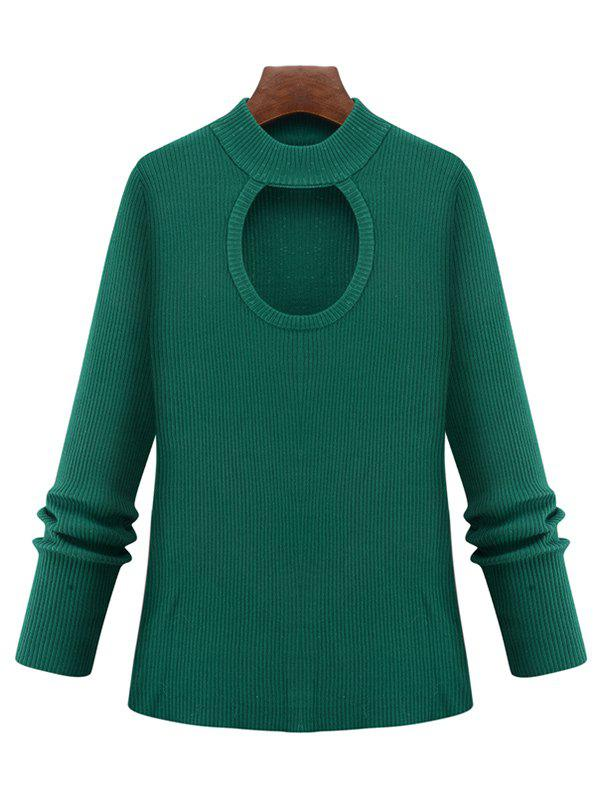 Plus Size Cut Out Keyhole Knitted Sweater - GREEN XL