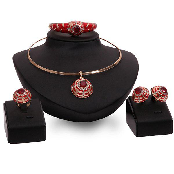 A Suit of Faux Ruby Wedding Jewelry Set - RED ONE-SIZE
