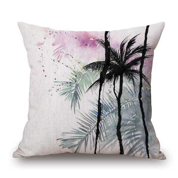 Watercolor Palm Tree Printed Cushion Cover Throw Pillow Case - COLORMIX