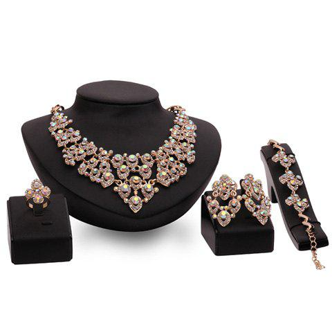 A Suit of Hollow Out Rhinestoned Water Drop Jewelry Set - GOLDEN ONE-SIZE