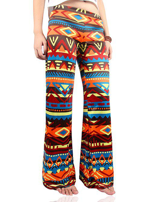 Wide Leg Tribal Colorful Print Palazzo Exumas Pants - COLORMIX 2XL