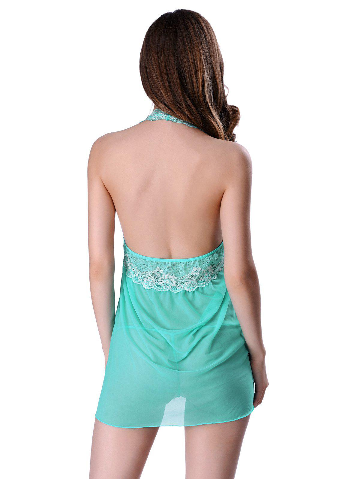 Alluring T-Back and Halter Backless Lace Spliced Sheer Babydoll For Women - GREEN S