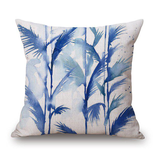 Watercolor Reed Printed Cushion Cover Linen Pillow Case - BLUE