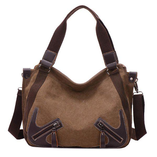 Simple Zippers and Splicing Design Women's Shoulder Bag - BROWN