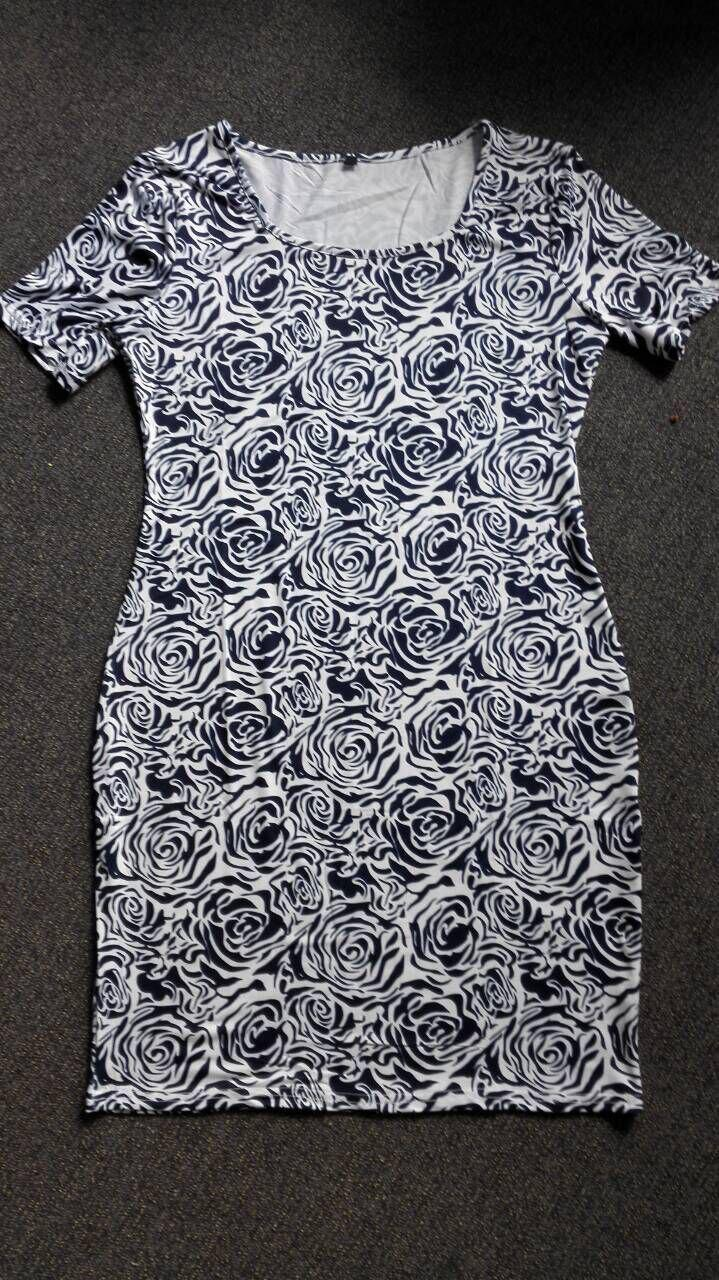 Charming Short Sleeve Abstract Floral Print Skinny Women's Dress