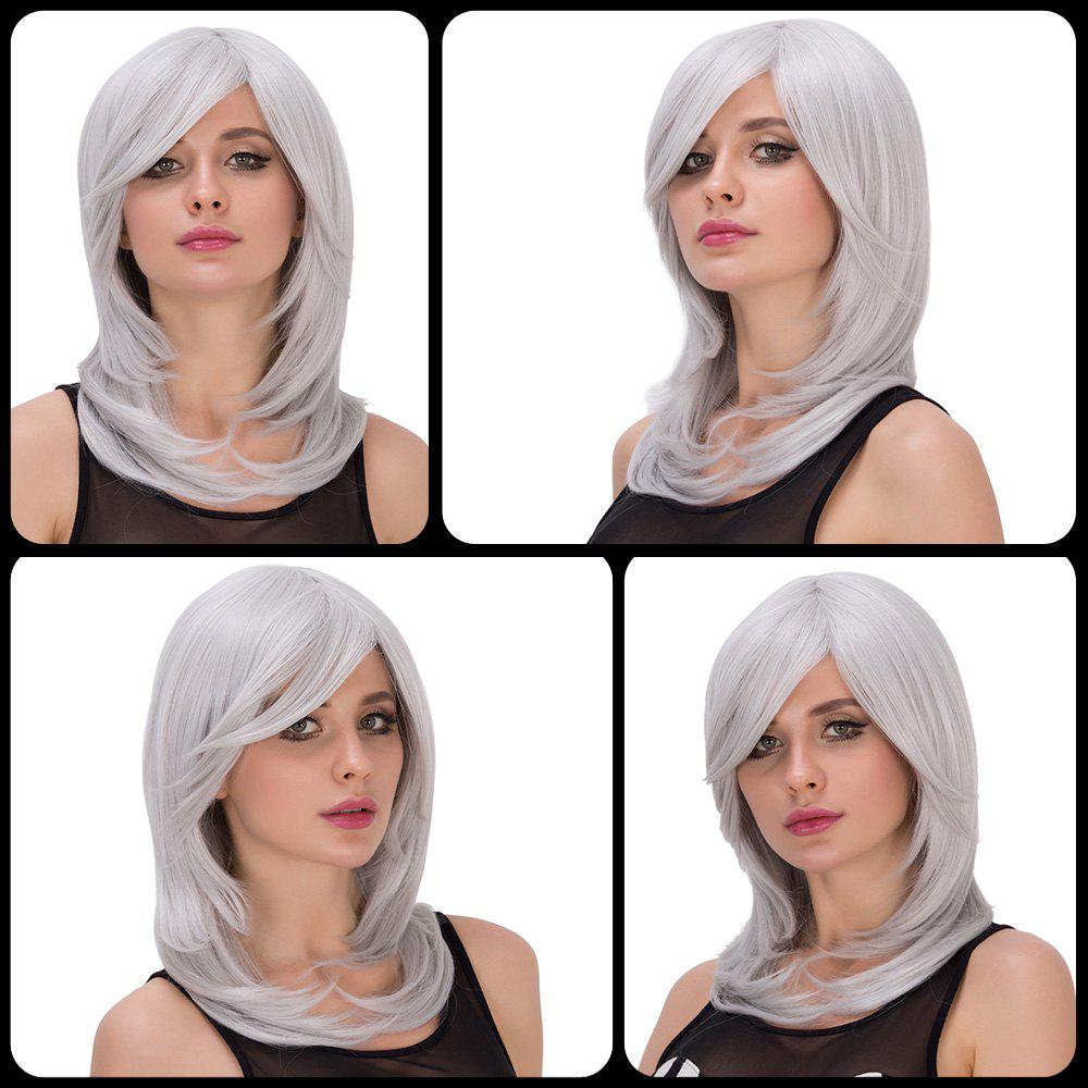 Endearing Medium Side Bang Silver White Layered Tail Adduction Women's Cosplay Lolita Synthetic Wig