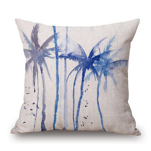 Watercolor Coconut Tree Printed Pillow Case Throw Cushion - OFF WHITE