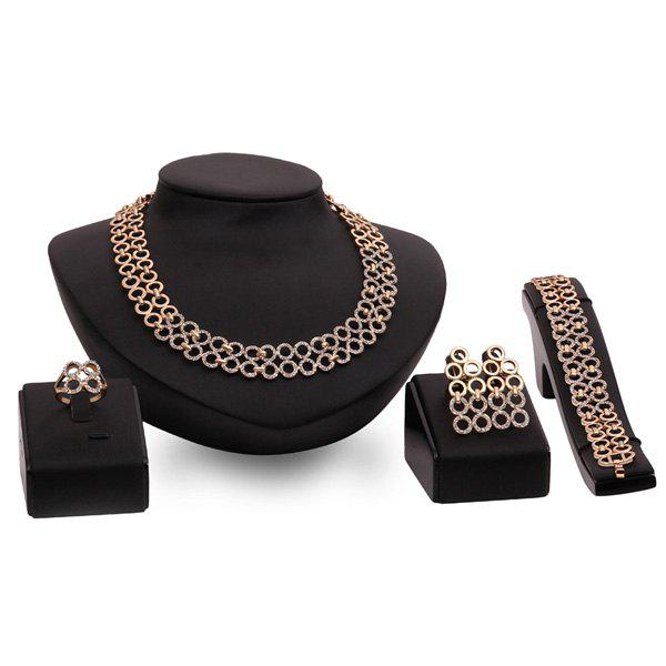 A Suit of Gorgeous Round Wedding Jewelry Set For Women - GOLDEN ONE-SIZE
