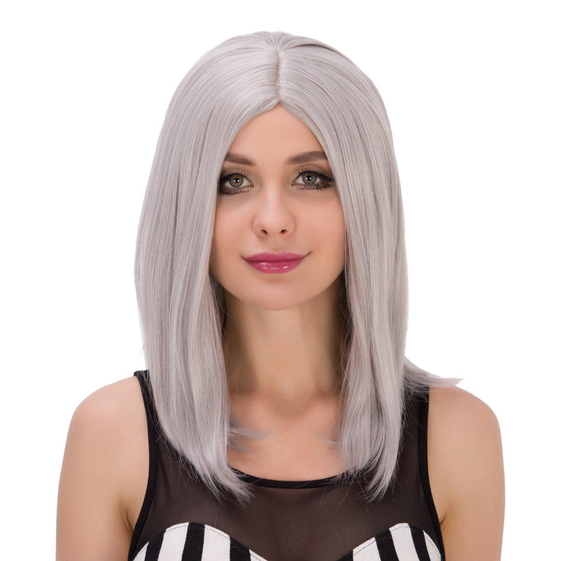 Medium Middle Part Silver Gray Straight Endearing Women's Cosplay Lolita Synthetic Wig
