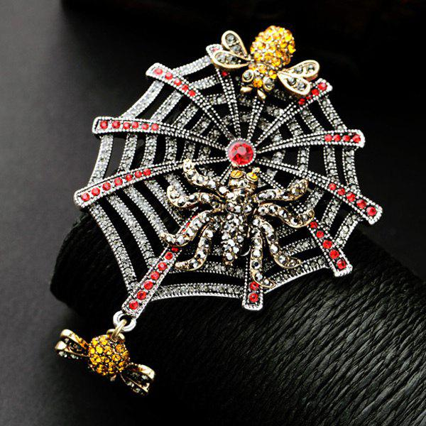 Rhinestone Insect Spider Web Etched BroochJewelry<br><br><br>Color: RED