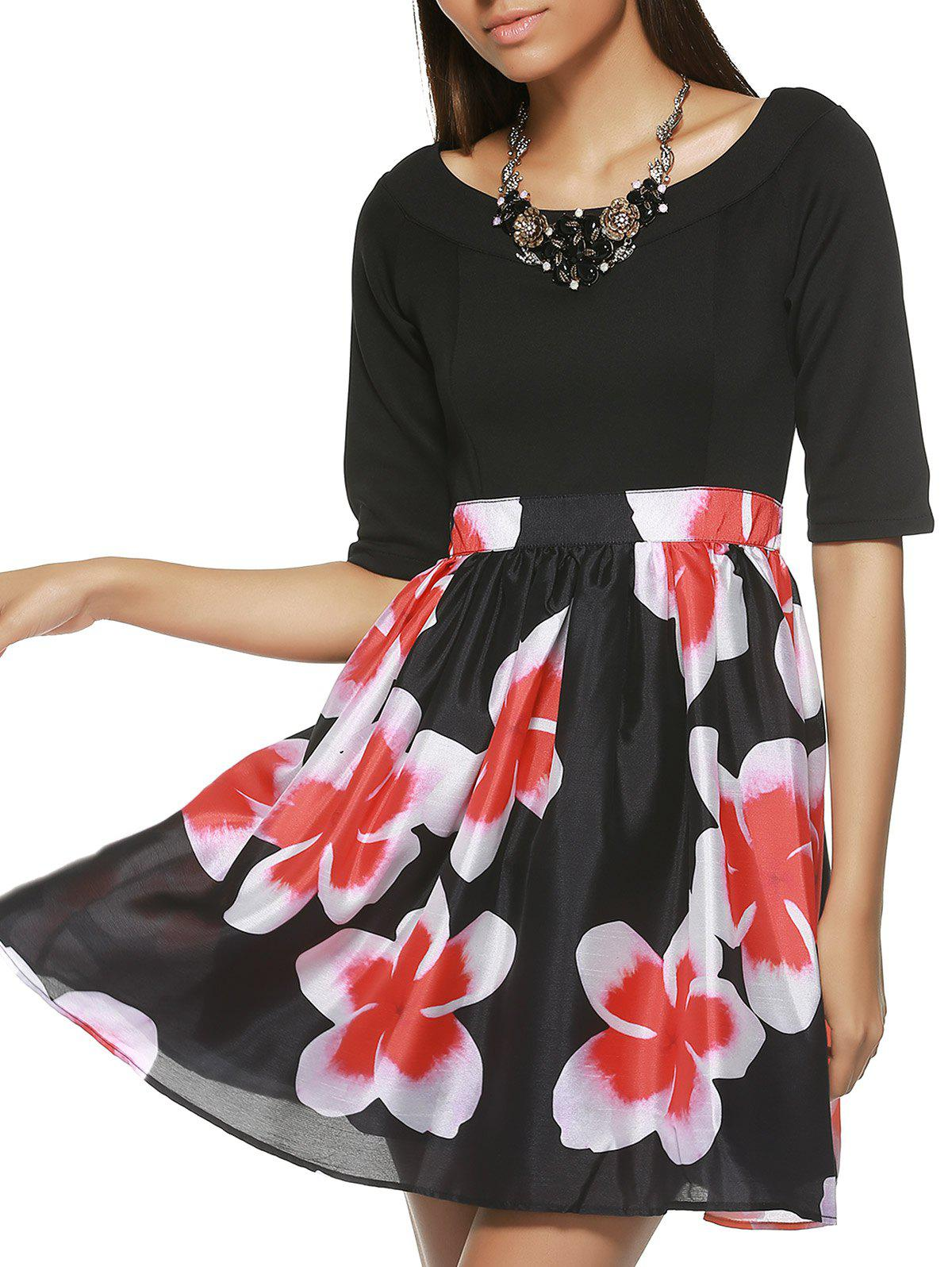 Half Sleeve Knitted Spliced Floral Print Dress - BLACK 2XL