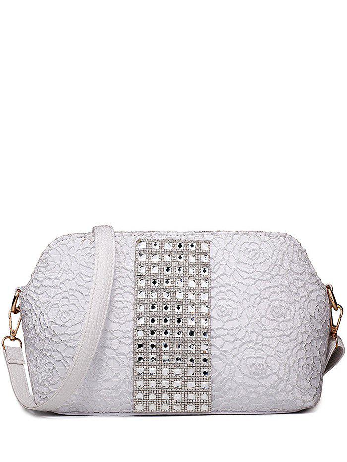Trendy Lace and Rhinestones Design Women's Shoulder Bag