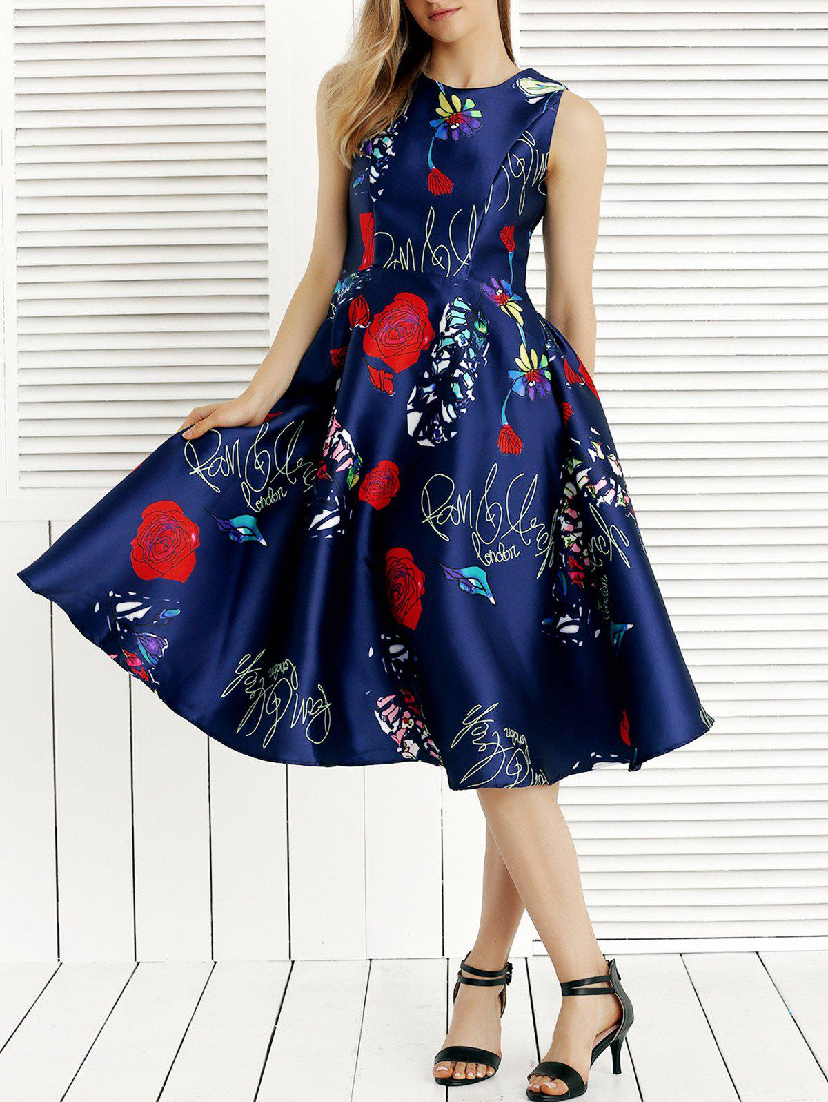 Romantic Dating Rose Print Dress - BLUE ONE SIZE