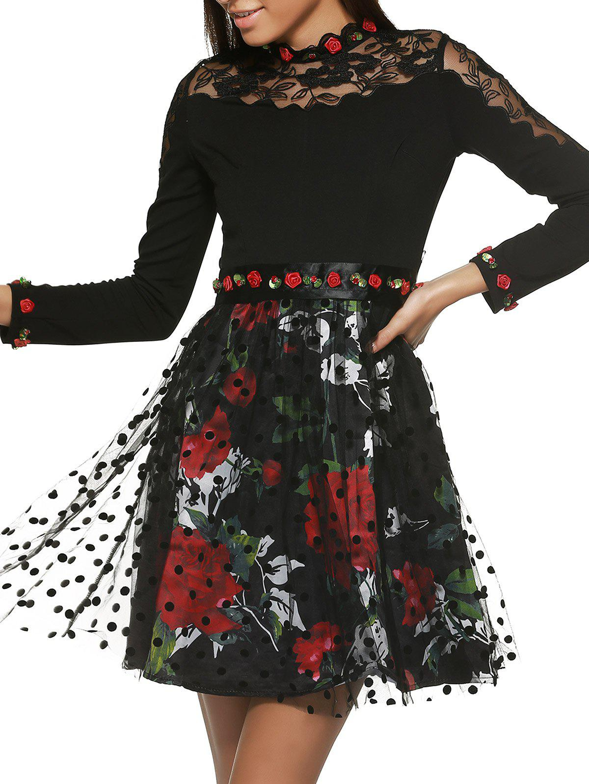 Long Sleeve Floral Belt Tie Printed Spliced Dress - BLACK XL