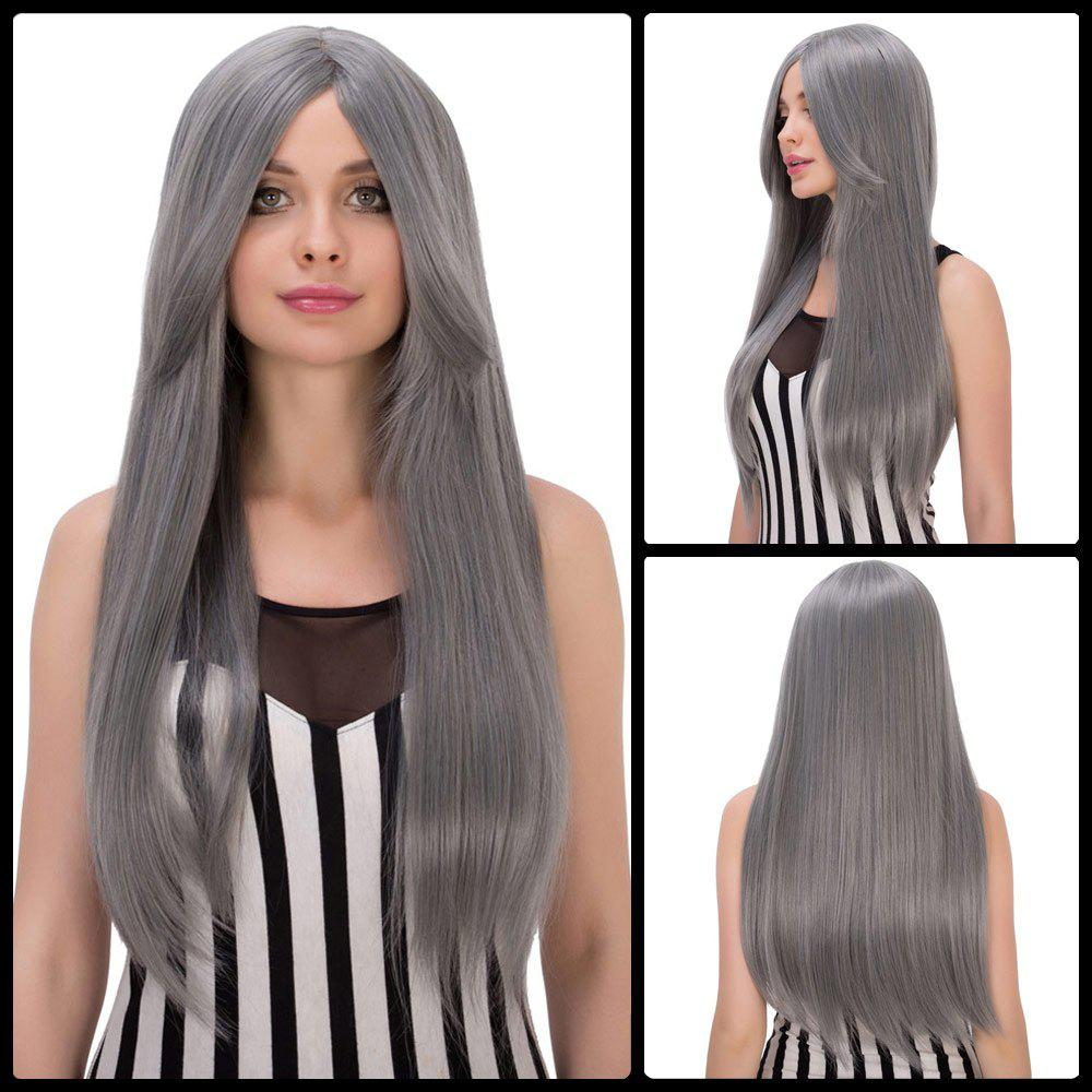 Long Middle Part Mixed Color Straight Elegant Women's Cosplay Lolita Synthetic Wig - COLORMIX