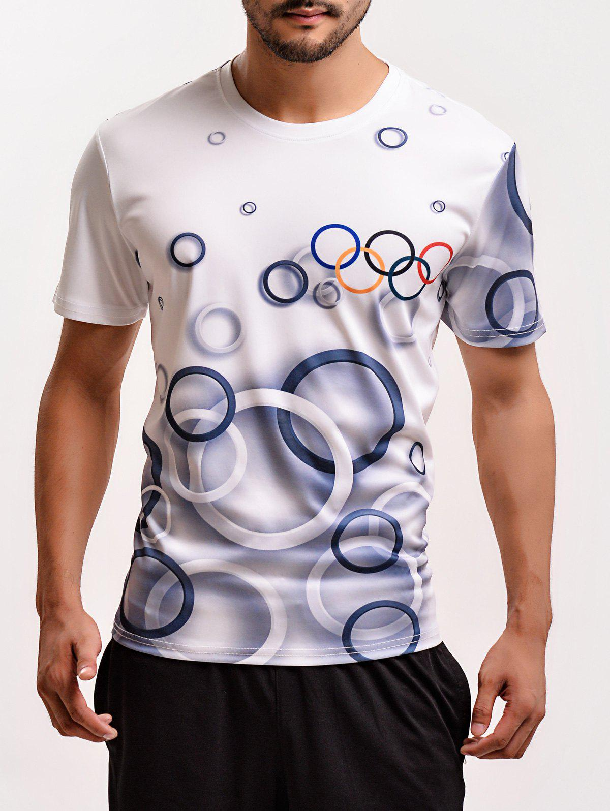Olympic Rings Print Round Neck Short Sleeves T-Shirt For Men - WHITE 3XL