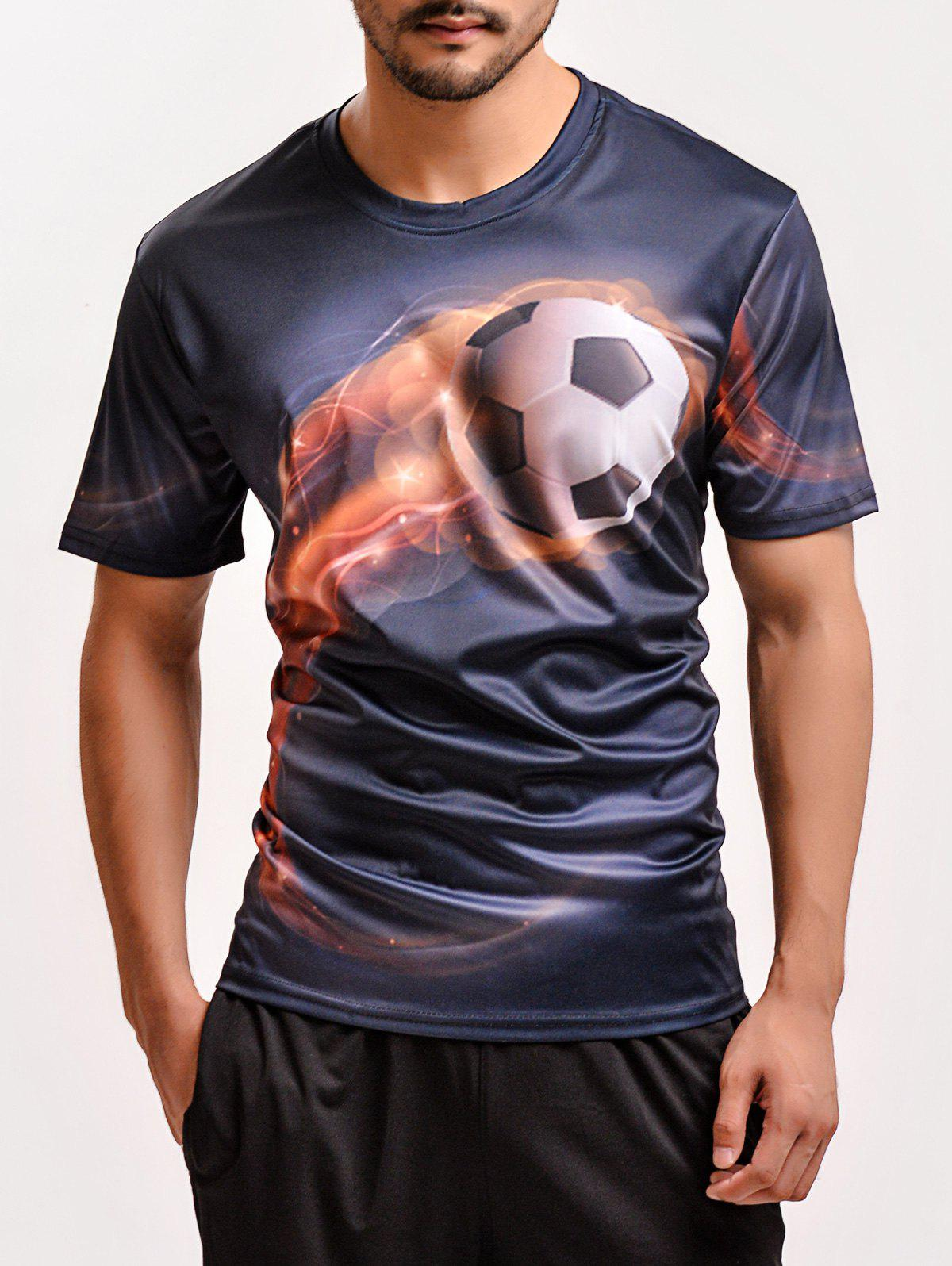 Fashion 3D Football Print Round Neck Short Sleeves T-Shirt For Men - BLACK 3XL