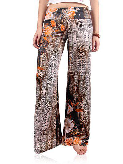 Floral Leopard Print Wide Leg Exumas Palazzo Pants palazzo flowers print wide leg flare pants