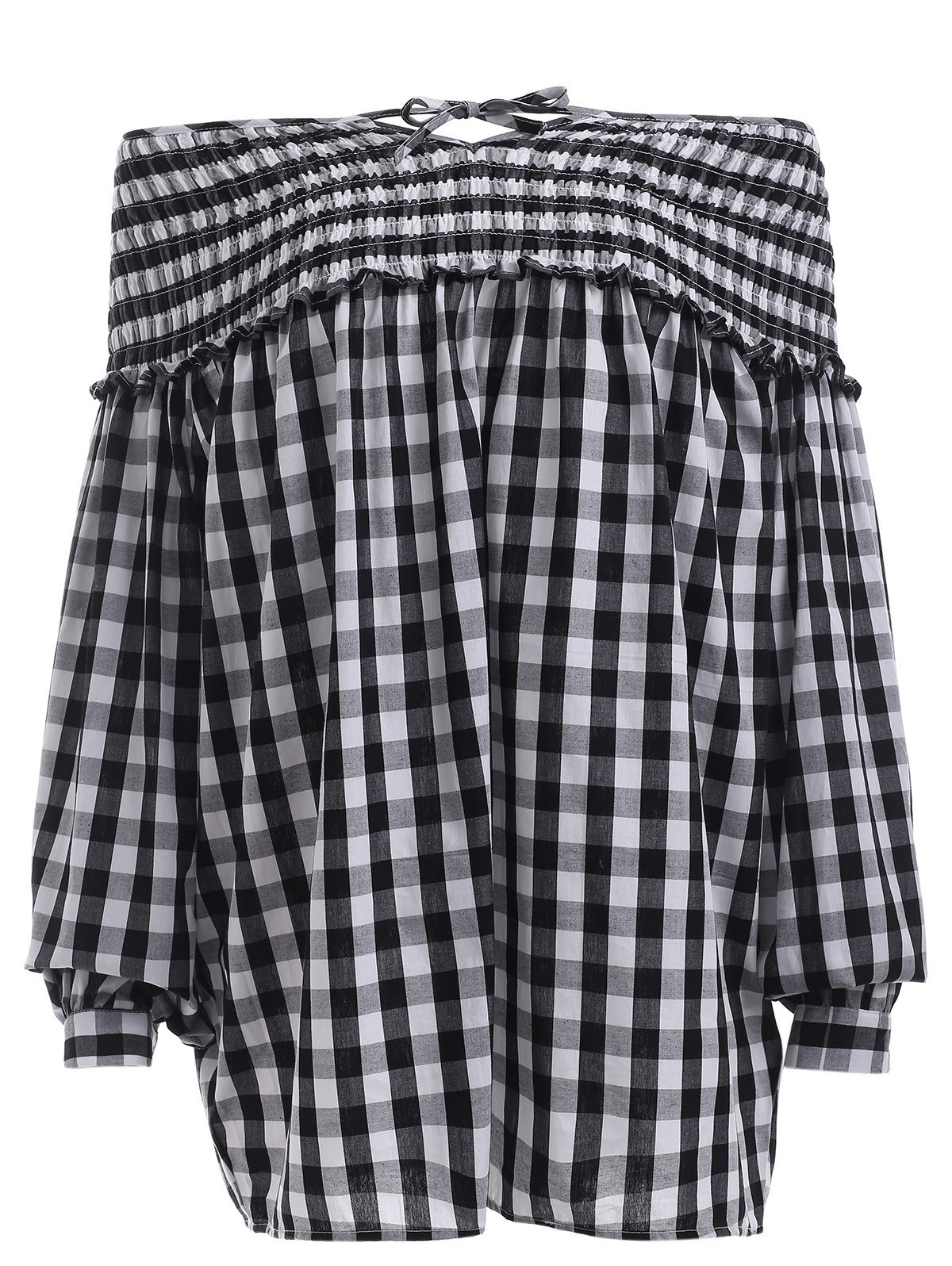 Vintage Lantern Sleeve Plaided Ruffle Pleated Blouse - CHECKED 2XL