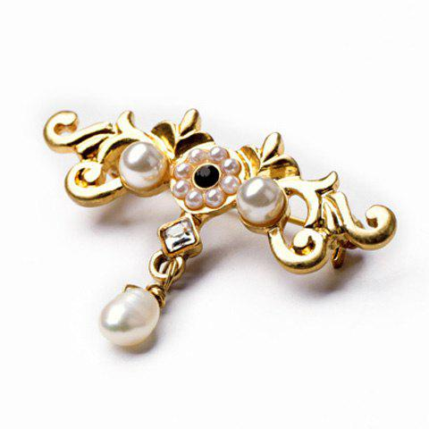 Floral Faux Pearl Gold Plated Brooch - GOLDEN