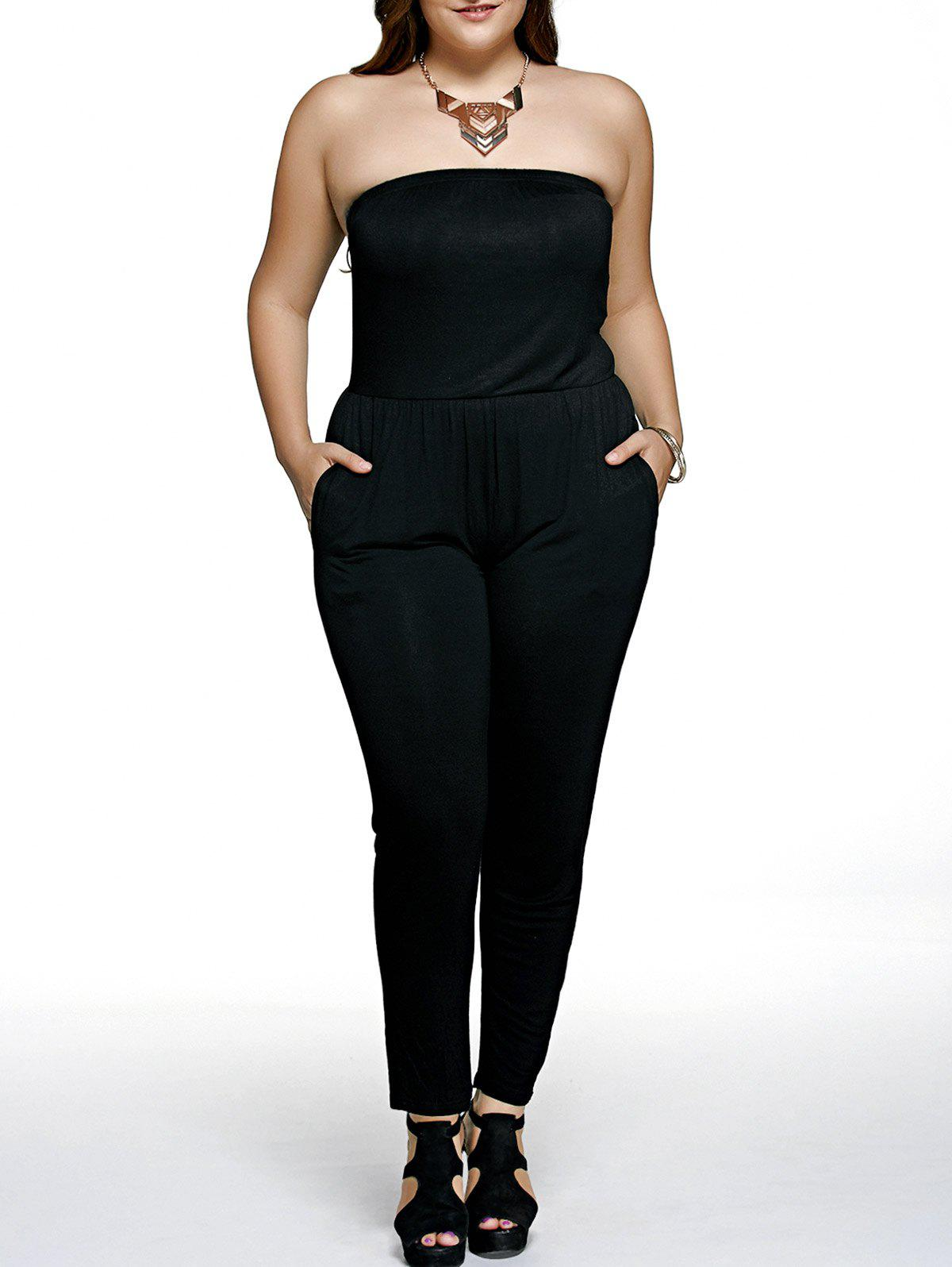Plus Size Vertical Pocket Harem Jumpsuit - BLACK 5XL