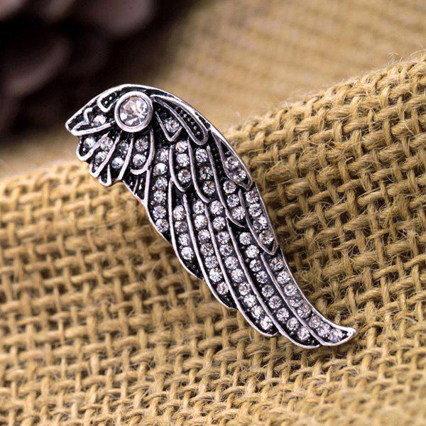 Stylish Etched Silver Alloy Rhinestone Wing For Women - SILVER